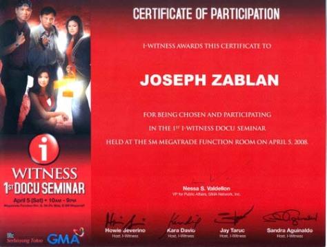 i-witness certificate