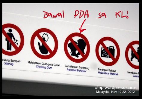 Bawal ang PDA sa Malaysia